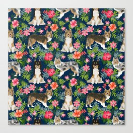 Sheltie shetland sheepdog hawaii floral hibiscus flowers pattern dog breed pet friendly Canvas Print