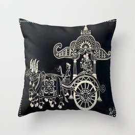 'The Chariot' Wood Work Throw Pillow