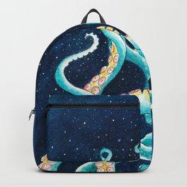Octopus Tentacles Galaxy Ocean Stars Watercolor Backpack