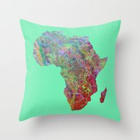 africa Throw Pillows featuring Africa by mthbt