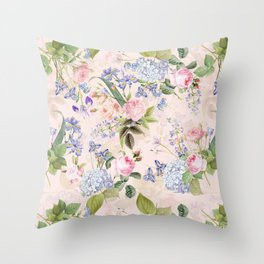 Vintage & Shabby Chic - Pink Redouté Roses Bouquets Pattern Throw Pillow