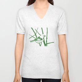 bird on the branch-vintage hand drawn  Unisex V-Neck
