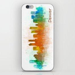 Denver Colorado City Watercolor Skyline Hq v3 iPhone Skin