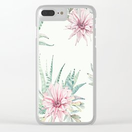 Cactus Pattern Light Green #society6 #buyart Clear iPhone Case
