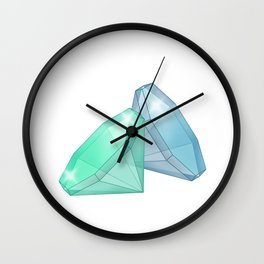 Precious blue and green gems on a white background . Wall Clock