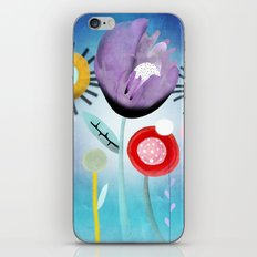 Blue Ombre Floral Art iPhone & iPod Skin
