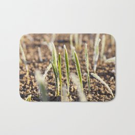 green wheat in a frost Bath Mat