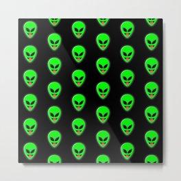 Alien Head Tongue Out Emoji Pattern Metal Print