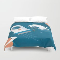 Darwin the Diddy Dog Diving into Deep Space Duvet Cover