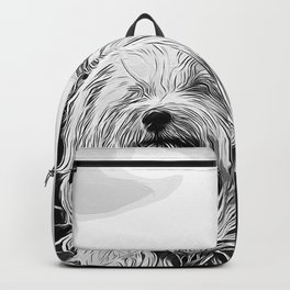 hairy havanese dog vector art black white Backpack