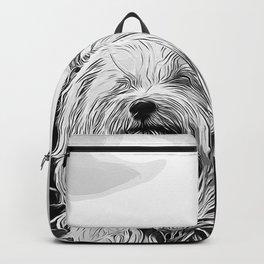 hairy havanese dog vector art black white Backpack