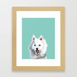 Japanese Spitz pet portrait wall art and gifts for dog breed lovers Framed Art Print