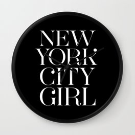 NEW YORK CITY GIRL in black Wall Clock