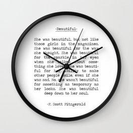 Beautiful Quote F. Scott Fitzgerald Wall Clock