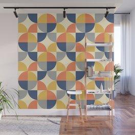 Mid Century Modern Geometric Pattern 330 Blue Yellow Orange Gray and Beige Wall Mural