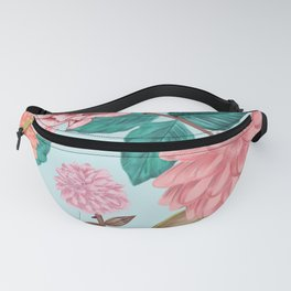 Hand drawn Carnation and Dahlia spring time cheerful pattern turquoise Fanny Pack