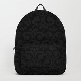 Black and Dark Grey Damask Pattern Backpack