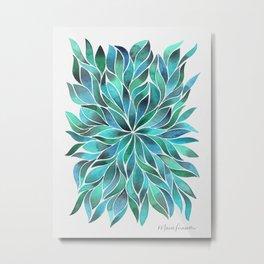 Floral Vines - Blue Green Metal Print