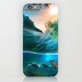 Palm Tree - Waves - Turtles - Beach - Ocean iPhone Case