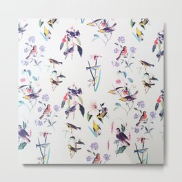 Vintage chic pink teal purple floral birds pattern Metal Print