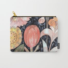 Mixed Flowers with Tulip on Black Carry-All Pouch