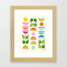 Sugar Blooms - Abstract Retro Inspired Design Framed Art Print