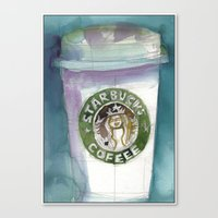 starbucks Canvas Prints featuring Starbucks by Dorrie Rifkin Watercolors
