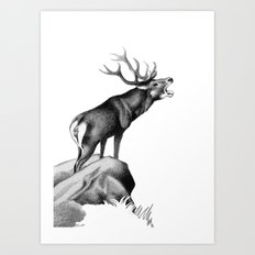 Stag Roaring in the Rut Art Print