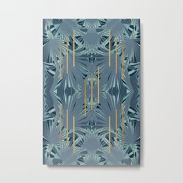 Tropical Art Deco 1.1a Blue, Green, Gold Metal Print