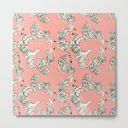 Pink Tiger Pattern 006 Metal Print