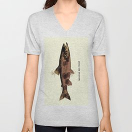 Canadian Red Trout Vintage Art for the Ocean Lovers and Anglers / Gifts for Fisherman Unisex V-Neck