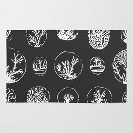 Black and White Coral Illustration Rug