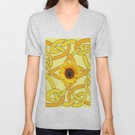 Decorative Yellow Sunflowers Celtic Pattern Art Unisex V-Neck