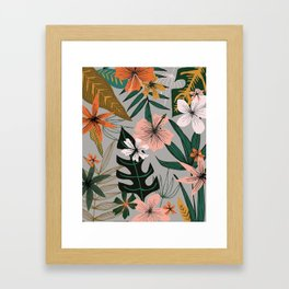 tropical floral on gray Framed Art Print