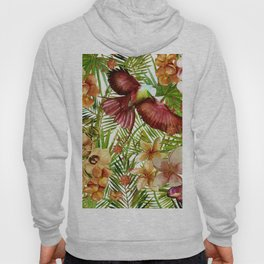 Aloha - Tropical Jungle Bird, Butterfly and Flowers Garden Hoody