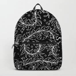 Lacy Leaves Black and White Backpack