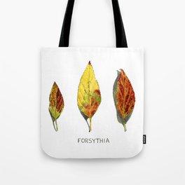 Fall Forsythia Leaves Tote Bag