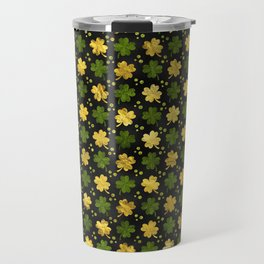 Irish Shamrock Four-leaf clover  Gold black Travel Mug