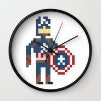 steve rogers Wall Clocks featuring Steve Rogers by Bryan