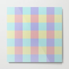 Plaid Blue Soft Yellow Rose Blush Lavender Cyan Tetradic Colour Blocks Metal Print