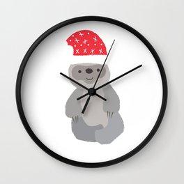 Santa Sloth Santa Hat Merry Christmas Gift Wall Clock