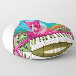 Cat on Synthesizer Floor Pillow
