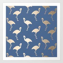 Gold Flamingo on Aegean Blue Art Print