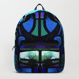 Blue and Aqua Stained Glass Victorian Design Backpack