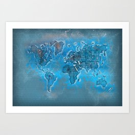 world map 109 #worldmap #world #map Art Print