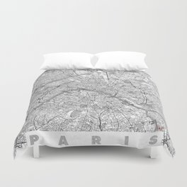 Paris Map Line Duvet Cover