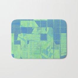 Bluish square patterns make together as tiles Bath Mat