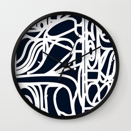 Stained Glass Pattern Black and White Wall Clock