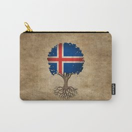 Vintage Tree of Life with Flag of Iceland Carry-All Pouch