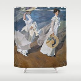 Joaquin Sorolla Y Bastida - Strolling along the seashore Shower Curtain